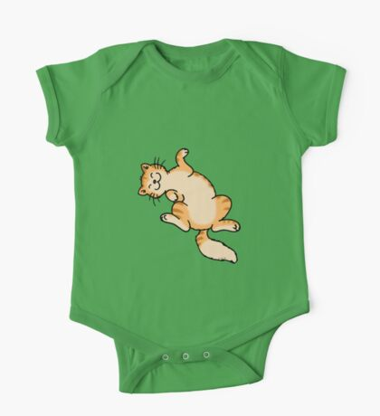 Ginger tiger cat lying on back One Piece - Short Sleeve
