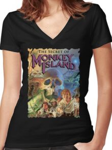 Monkey Island Women's Fitted V-Neck T-Shirt