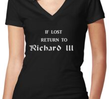 If lost return to Richard III - The White Queen Women's Fitted V-Neck T-Shirt