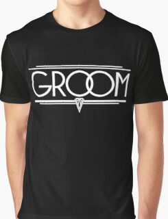 GROOM Stylish Type Hand Lettering - Wedding Art Deco Elegant White on Black Graphic T-Shirt