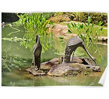 Two Iron Egrets Poster