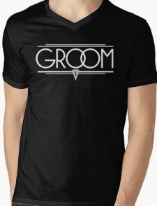 GROOM Stylish Type Hand Lettering - Wedding Art Deco Elegant White on Black Mens V-Neck T-Shirt