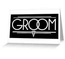 GROOM Stylish Type Hand Lettering - Wedding Art Deco Elegant White on Black Greeting Card