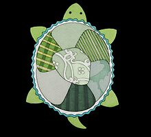 Turtle #1 on Black by ErinBrieArt