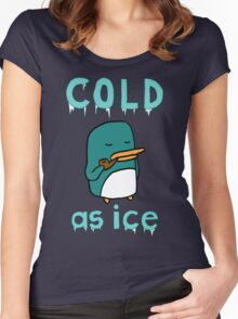 Cold As Ice - Penguin Stays Frosty and Smokes Soothing Pipe Women's Fitted Scoop T-Shirt