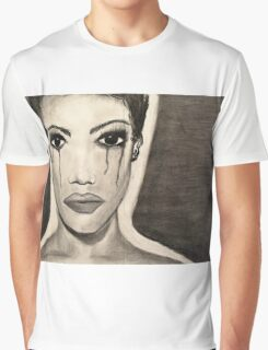 black and white charcoal Graphic T-Shirt