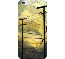 green sky telephone wires iPhone Case/Skin