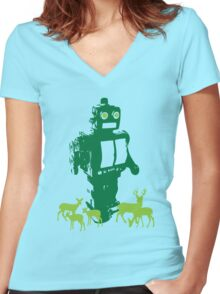 Robots and Nature II Women's Fitted V-Neck T-Shirt