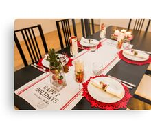 Christmas dinner table set and decorated with red and green  Metal Print