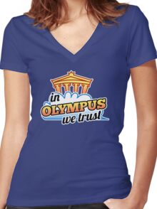 In Olympus We Trust Women's Fitted V-Neck T-Shirt