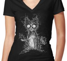 Farty Cat Women's Fitted V-Neck T-Shirt