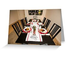 Christmas dinner table set and decorated with red and green  Greeting Card