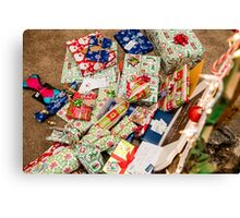 Christmas presents under an ecological, reusable Christmas tree  Canvas Print