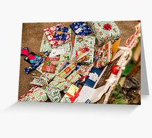Christmas presents under an ecological, reusable Christmas tree  Greeting Card