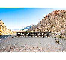 Valley of Fire State Park, Nevada. Entrance sign  Photographic Print
