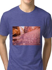 Petroglyphs at Valley of Fire State Park, Nevada Tri-blend T-Shirt