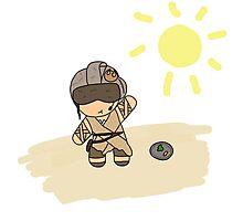 rey with helmet on jakku Photographic Print
