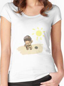 rey with helmet on jakku Women's Fitted Scoop T-Shirt