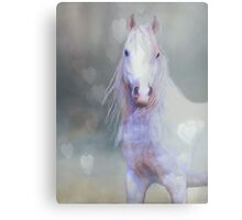 White Horse And Hearts Metal Print