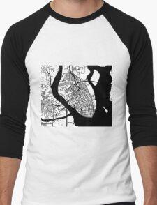 Charleston, SC Map - Black Inverted Men's Baseball ¾ T-Shirt