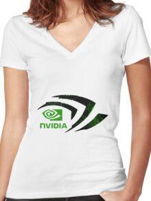 Nvidia Logo Women's Fitted V-Neck T-Shirt