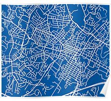 Charlottesville Map - Deep Blue Poster
