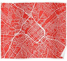 Charlotte Map - Red Poster