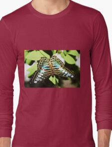 Turquoise blue, white & black butterfly Long Sleeve T-Shirt