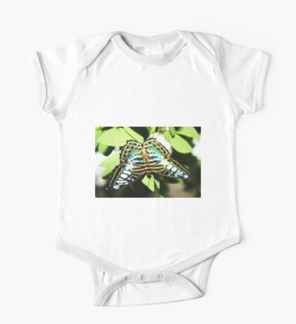 Turquoise blue, white & black butterfly One Piece - Short Sleeve