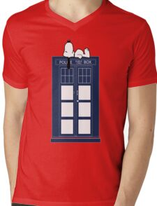 Snoopy / Dr. Who Mens V-Neck T-Shirt