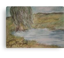 Willow On Pond Canvas Print