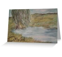 Willow On Pond Greeting Card