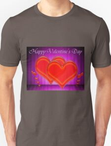 Valentine hearts on purple background Unisex T-Shirt