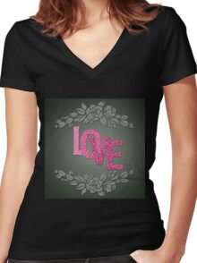 Valentine hearts on purple background Women's Fitted V-Neck T-Shirt