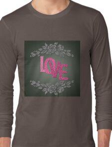 Valentine hearts on purple background Long Sleeve T-Shirt