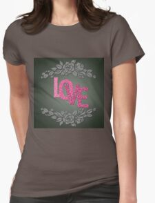 Valentine hearts on purple background Womens Fitted T-Shirt