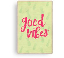 Good Vibes // Retro Vintage Green Pineapple Typography Poster and Pattern Canvas Print