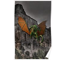 Dragon & Castle Fantasy Artwork Poster