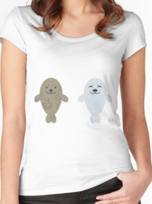 cute seal and fish in water Women's Fitted Scoop T-Shirt