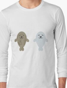 cute seal and fish in water Long Sleeve T-Shirt