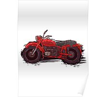 red vintage motorcycle Poster