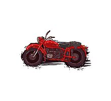 red vintage motorcycle Photographic Print
