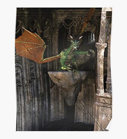 Dragon & Castle Fantasy Artwork Poster