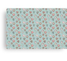 pattern with hearts. Blue, pink, brown Canvas Print