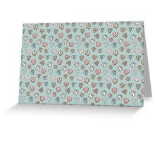 pattern with hearts. Blue, pink, brown Greeting Card