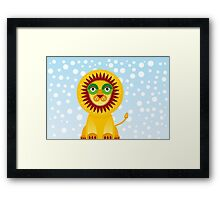 Funny cartoon lion and sky background.  Framed Print