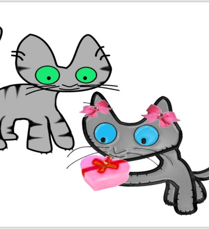 Two Cats On ValentinesDay Sticker
