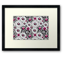 Vintage shabby Chic pattern with Pink and Black flowers  Framed Print