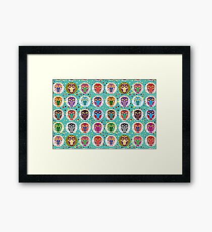 funny colorful owls Framed Print