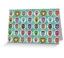 funny colorful owls Greeting Card